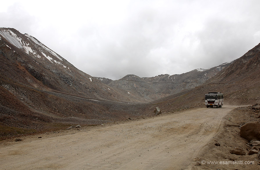 "Near centre of pic the mountain that you see is Khardungla Pass. Roads are being broadened. To see pics of Sela Pass Arunachal <a href=""http://www.esamskriti.com/photo-detail/Sela-Pass.aspx"" target=""_blank"">Click here</a>"