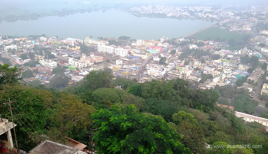View of Palani town from top of hill.