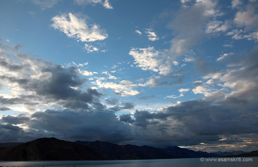 View of lake and sky. What I loved about Ladakh in general and this area in particular was the varying color of the sky and shape of clouds.