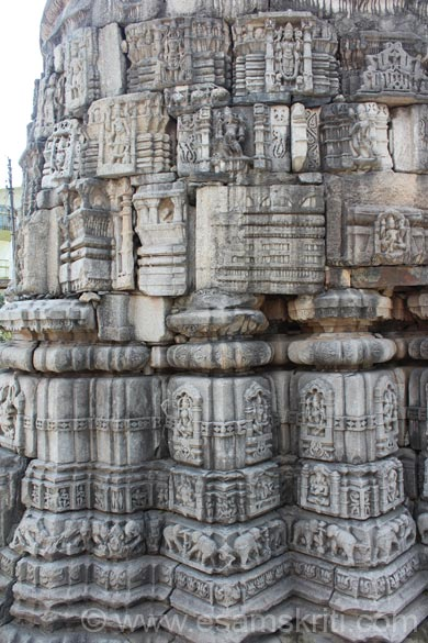 Carvings of temple base. The intricate carvings give u an idea of what temple was originally like.