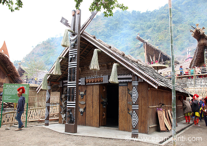 Typical Pochury tribe home. What we call buffalo is called Mithun in Nagaland, ditto in Arunachal do not know other states in north-east. U see number of Mithun face with horns, it symbolises wealth in Naga tradition.