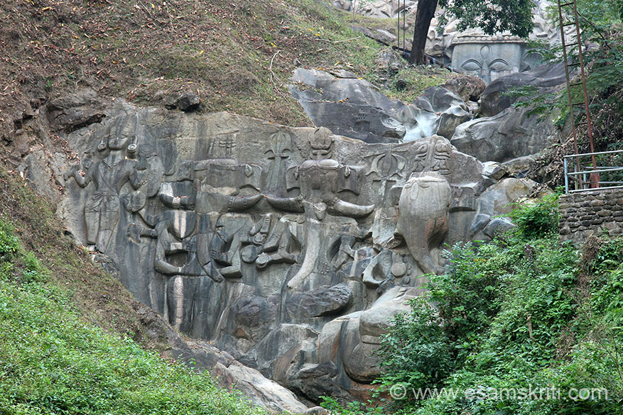 Another view. Importantly see top of pic for eyes of Shiva, part of colossal sculpture of Shivji.