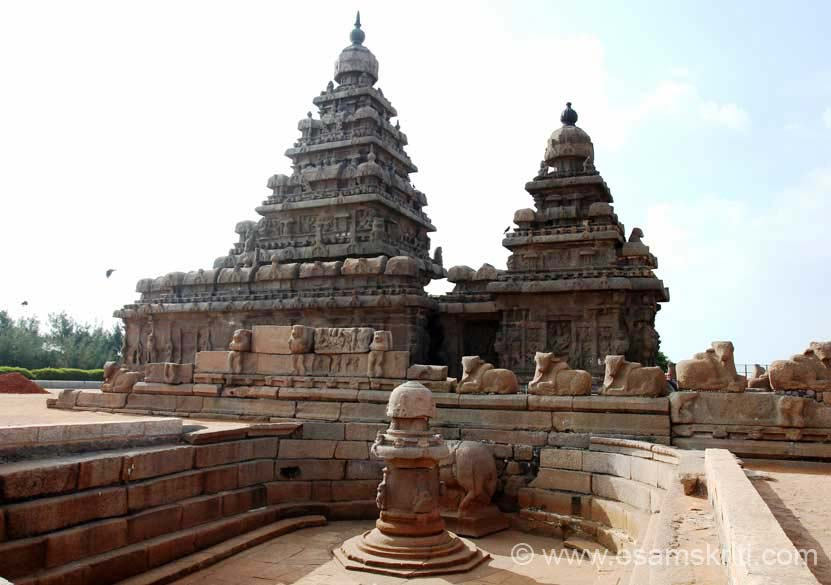 View from north side. In front is a Miniature shrine, a recent excavation. Temple built by RAJASIMHA (700-728A.D.)