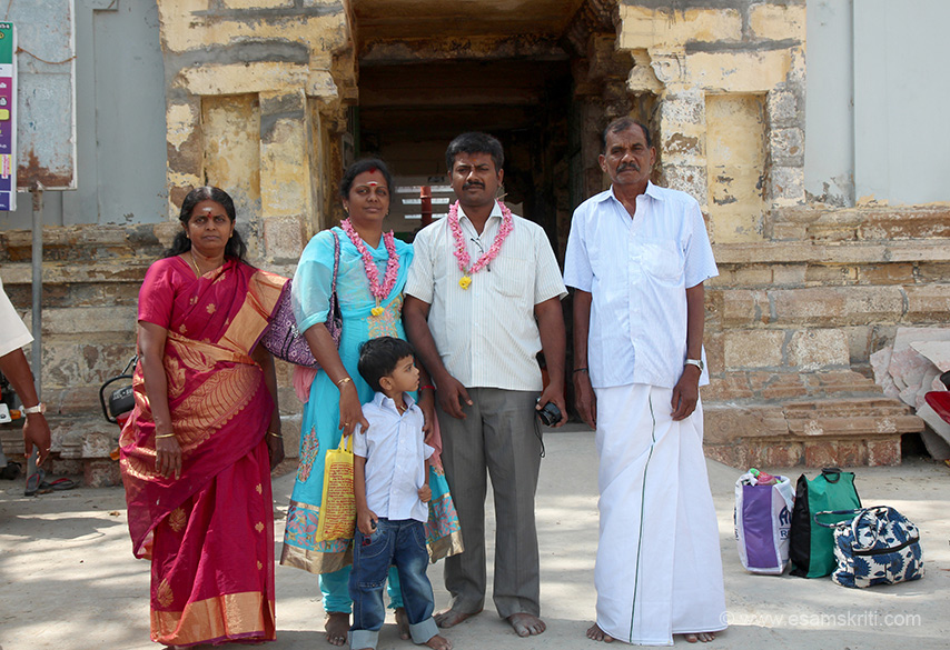 "A couple with child and parents. ""There is a separate shrine for Rahu of the Navagraha. The childless will get a progeny if they worship him thus called Mangale Rahu and worshipping him consecutively on three New Moon days will remove the malefice effects of Navagraha."""