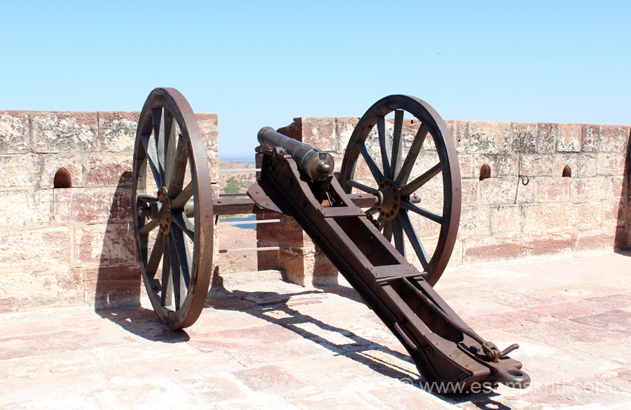 "A close up of a canon. ""The Fort and its palaces were built over period of 500 years following the foundation in the mid-15th century."""