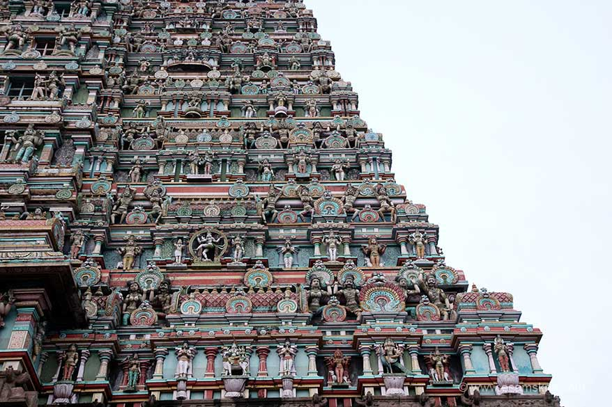 Close up of gopuram right side. Has images of Siva/Parvati, Kartikeya etc.