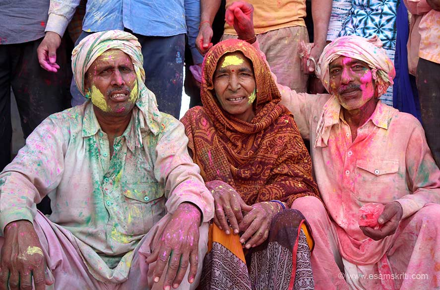 "Locals come in large numbers, as people from all over India. ""Holi-celebrations at these two villages underline the core essence of 'ras ka bhav' – which means, it celebrates the element of spiritual rapture."""