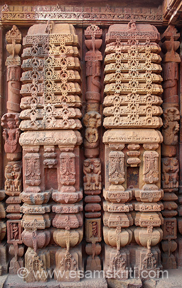 Sculptured reliefs on jagamohana. Finishing is with great care and taste. Every scrap of carving is clean-cut and distinctive.