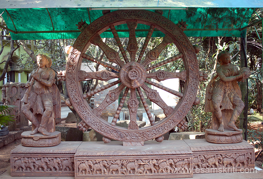 In village garden Konark wheel 9 feet diameter with Musical lady.