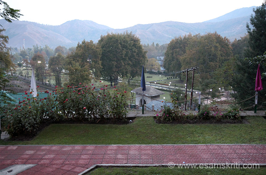 Overview of garden at Verinag from J&K Tourism Hotel.