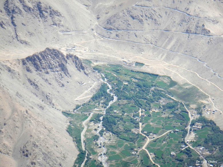 Leh valley - to the right is seen the road climbing to KhardungLa pass - the Highest motorable road in the world (now disputed after GPS measurements).