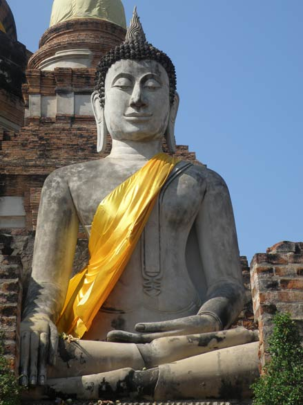 A close up of the Buddha image.