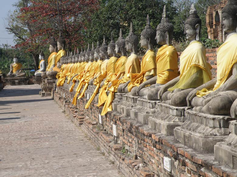 A view of the smaller Buddha images with saffron robes. Note the two big Buddha images at the end - corner.