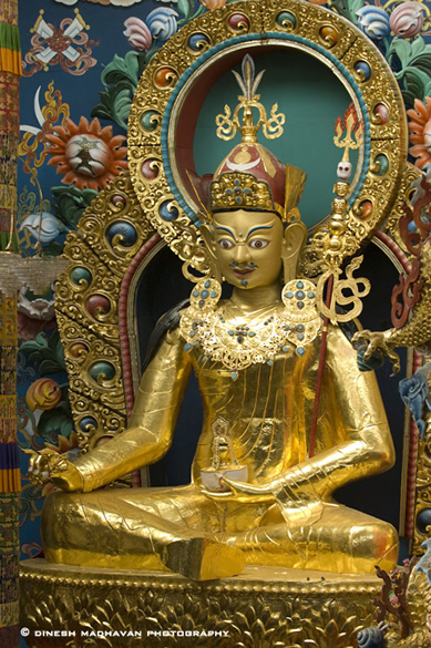 About 5 kms from Kushalnagar is the Namdroling Tibetan Monastery,  popularly known as the Golden Temple. It is very well  maintained and one feels at peace with this world.  It is a very big monastry, with very well laid out buildings  and fully landscaped.  Statue inside the Golden Temple.