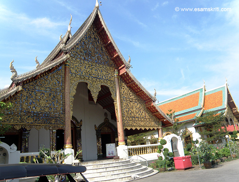 You see entrance to Wat Chiang Man. It is an imposing complex and worth a visit. It is believed to date from 1296. The temple is noteworthy for its fine Chedi supported by rows of elephant buttresses and a beautiful chapel, while enshrined within are the ancient Buddha images of Phra Kaeo Khao, a tiny crystal statue thought to have the power to bring rain and Phra Sila Khao. It has two Viharans one of which you see in this picture.