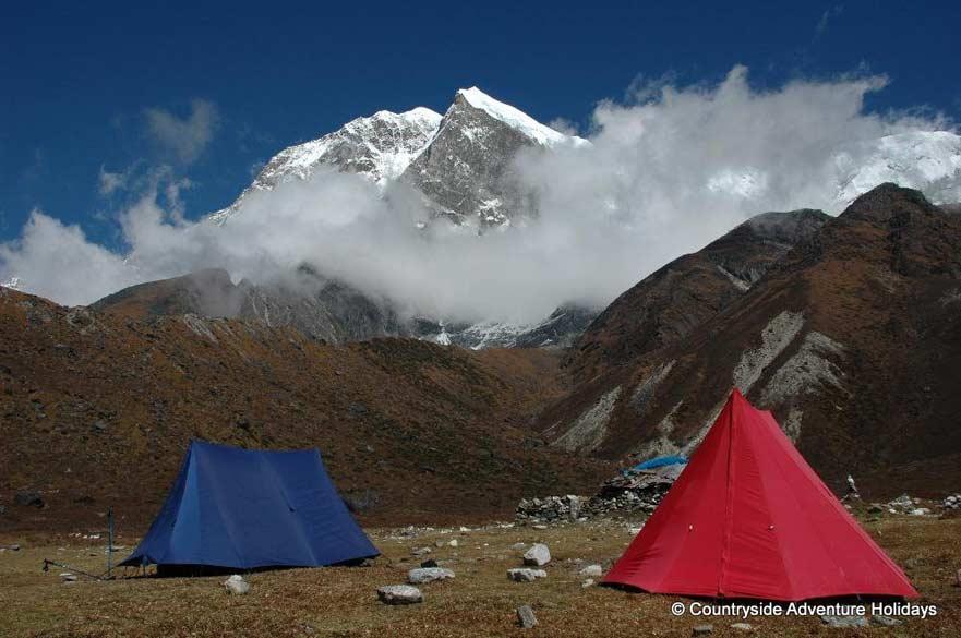 Camp Lamuney. Background is Mount Pandim.