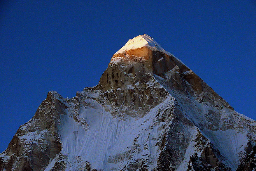 Early morning sun rays on the Shivling 6540 metres.