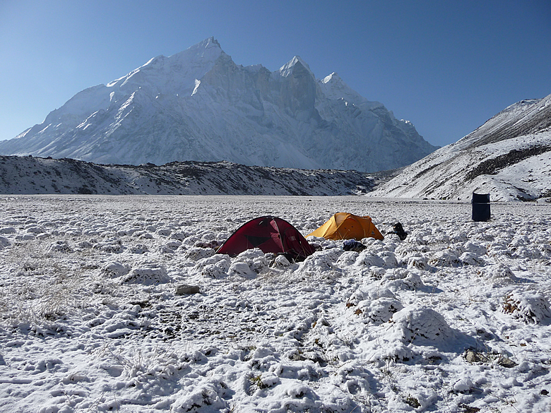 You see Bhagirathi peaks in background. Flat ground in Gaumukh are camp sites.