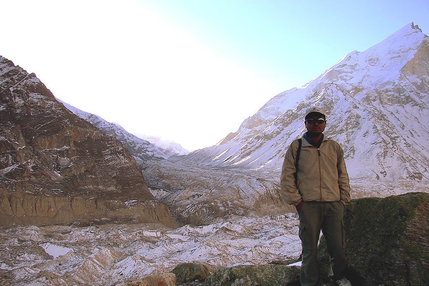 You see Panchrangi, Gangotri glaciers. The latter is the second longest glacier of Indian Himalayas after Siachen.