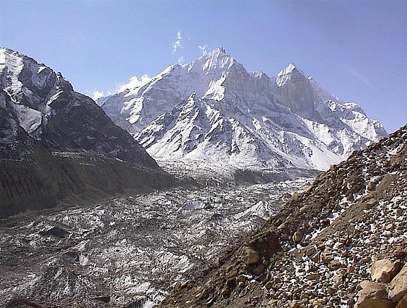 Mountain in centre is Bhagirathi right to left is 1,2,3. On one side of the Gangotri glacier is Bhagirathi on the other is Shivling.