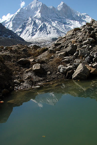 You see a reflection of Bhagirathi in water. Gaumukh is the source of Bhagirathi (Ganga).