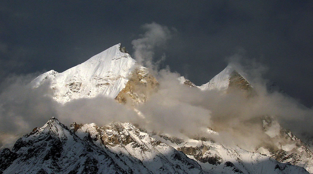 A close up view of Bhagirathi mountain nos 1 and 2, above 6500 metres.