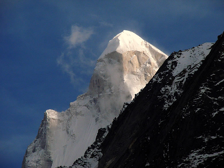 Another view of Shivling. At the base of Shivling is Tapovan ie at a height of 14,640 feet.