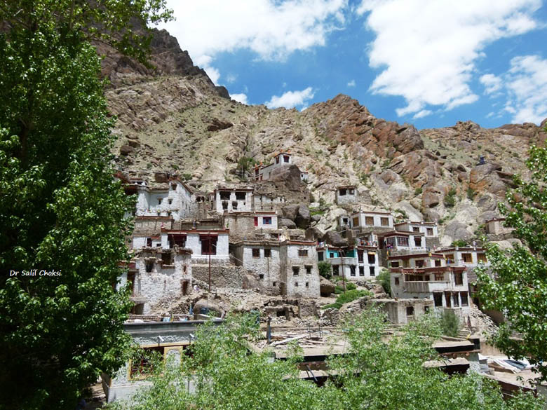 Hemis hamlet; hanging on to the cliff-slope for dear life. In Ladakh, life is at the mercy of the vagaries of its harsh and hostile climate.
