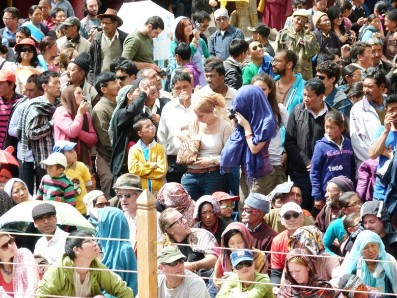 An impressive (and impressed) international audience witnesses one of the 8 Quirkiest Festivals in India, under the blazing Ladakhi sun, temperature 42 C.