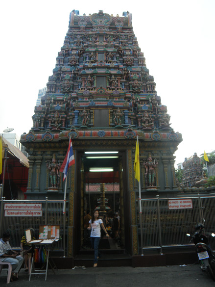 This is entrance gopuram at Sri Mariamman temple in Silom. It is dedicated to Goddess Uma, was built by Tamil migrants around 1877. On a Sunday evening I saw a number of Thai`s worshipping the Goddess.
