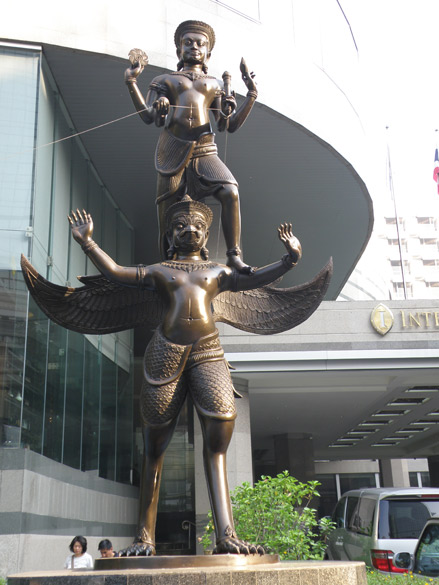 Cross the road from Erawan shrine and walk to the Inter Continental Hotel where you see this Garuda and Lord Vishnu`s image. Garuda, a giant bird, is Lord Vishnu`s vehicle and is the national symbol of Thailand. Note Lord Vishnu is holding a chakra here.