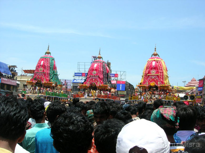The three chariots stand on the Grand Road, outside the Jagannath Temple. The idols are placed inside the chariots on the day of the Ratha Yatra. On the left is Balaram``s chariot (red with blue stripes, 44 feet high), in the center is Subhadra``s chariot (red with black stripes, 43 feet high) and on your right is Jagannath``s chariot (red with yellow stripes, 45 feet high)