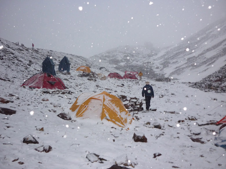 Camp Khada Pathar 5,456 metres. Heavy snowfall. Trek duration is about 15 days ex Haridwar.