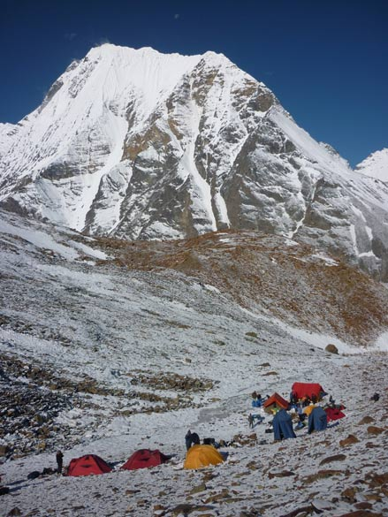 Vasuki Parbat and camp Khada Pathar. Max altitude during trek is 19500 feet.