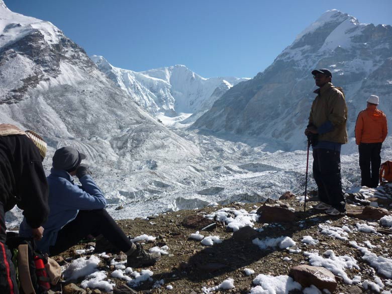 Mt Satopanth-highest in the region-center background & glacier. Best time to go for trek end June to early September.