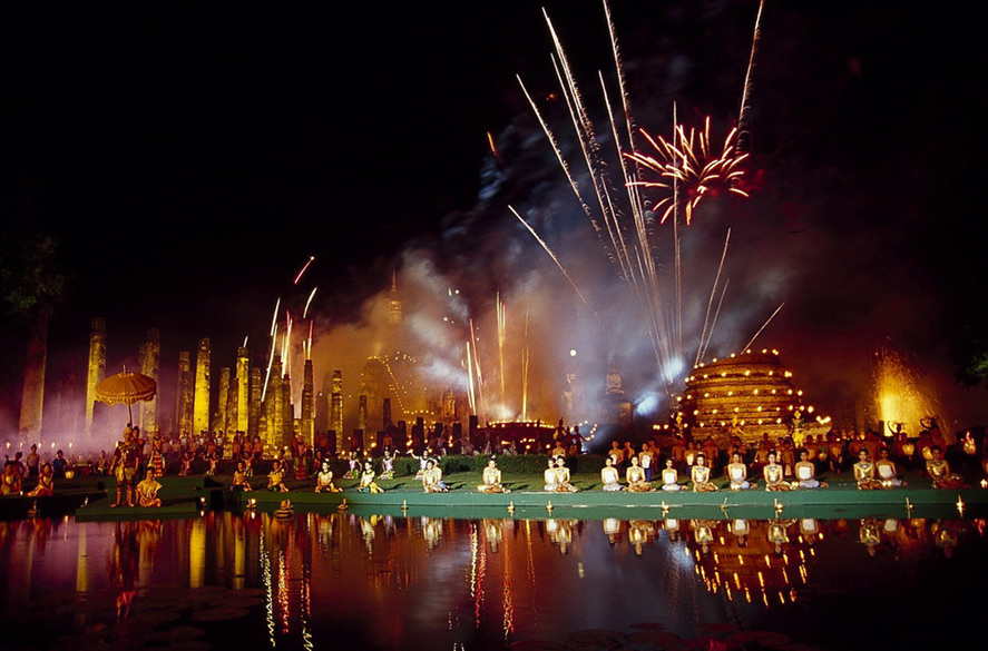The present day understanding is that the festival is celebrated as an act of worship to Chao Mae Kangka-the Goddess of the Waters for providing water and a way of asking forgiveness if they have polluted it or used it carelessly. You see major celebrations with fireworks in the background.