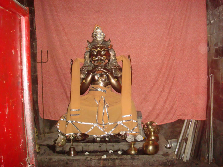 This is at Bharmour, one of the Chaurasi (84) temples/shrines of the Chaurasi temple complex and this particular shrine is Narsingh Dev ie Lord Narasimha ie the half-man half-lion avatara of Vishnu who