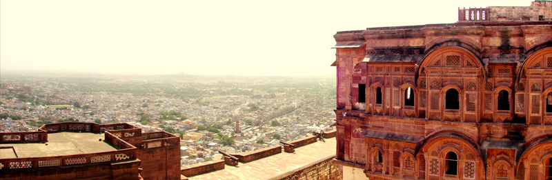 Past & Present: The view of Jodhpur city from the fort``s hieghest view point. At a distant, the Umaind Bhawan palace can be seen which is the residence of the present Maharaja of Jodhpur.