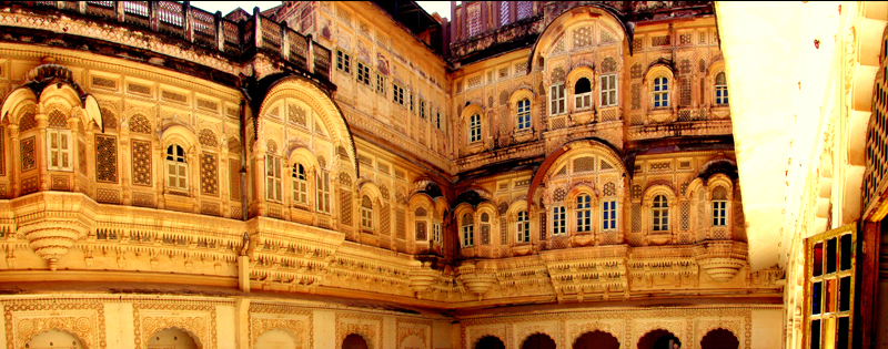 One of the many royal courtyards in the fort. Local artists perform in these areas to attract and display Rajasthan culture to the tourists.