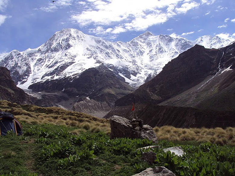 Our base camp with the view of Mt Changuch and Mt Nanda Kot.