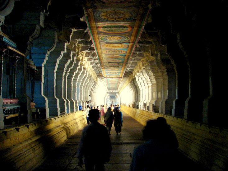 Built by the Pandya kings, the Ramanathaswamy Temple (Rameshwaram) is known for its magnificient structure, long corridors and aesthetically carved pillars lining it. The corridor is the longest one in Asia. It is 197 metres on East-West, 133 metres inlength on South-North.