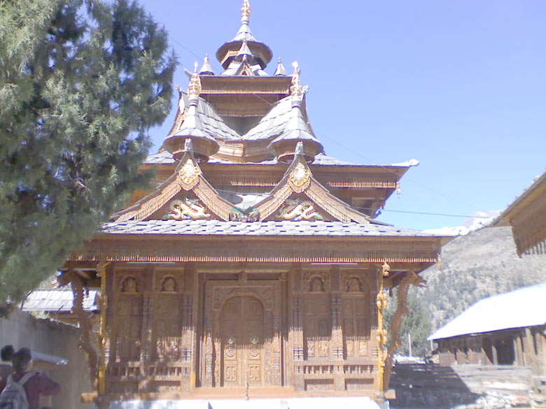 Awesome wooden sculptured temple of Badrinarayan in Batseri village, Rupin Valley. It is a relatively new structure, amazing in the finely crafted artistic carvings, with a mélange of the Chinese dragon, Hindu symbols, Gods, saints and last but not the least, Khajuraho-style 'sexo-yogic postures', all together with enthusiastic support of local devotees!
