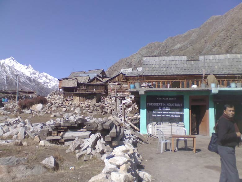 On the very edge. The Great Hindustani Dhaba proudly asserts its ubiquitous presence in the last village on the Greater Himalayan border with Tibet.