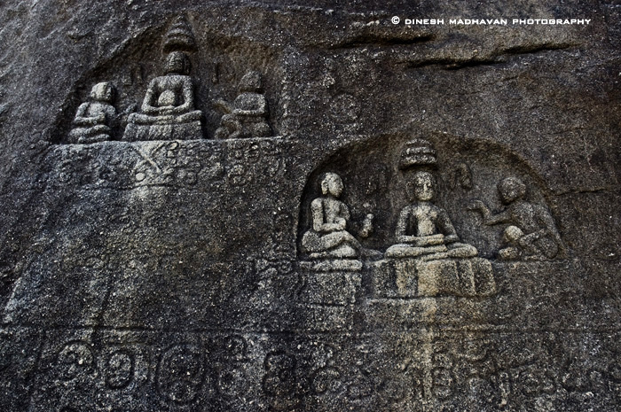 Relief cut figures of Jain Tirthankaras in meditation, found on the way to the Indragiri hill top.