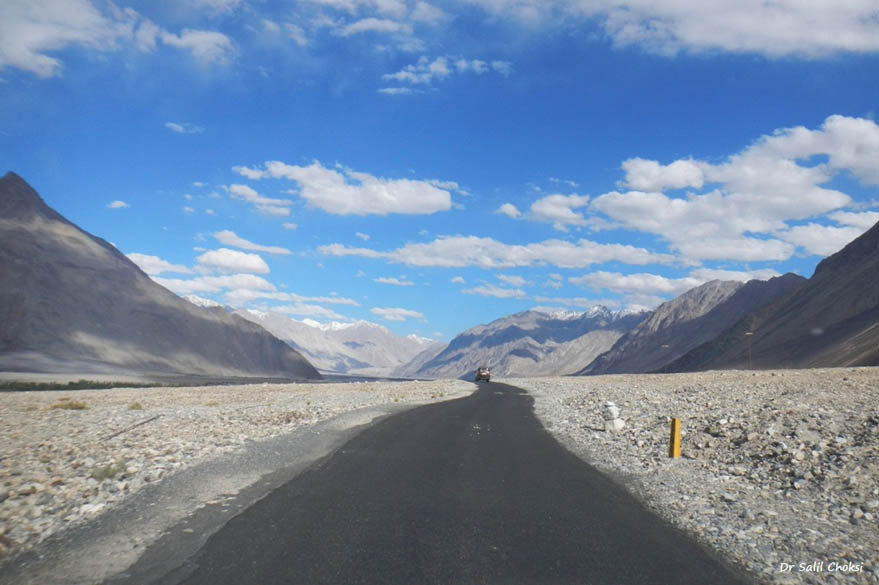 Road to Turtuk. Baltistan possesses approp fifty peaks with heights of more than 20,000 feet (6,100 m) above sea level. Mighty K2 - the second highest peak in the world at 8,611 meters in height – is situated here in the Karakorams.