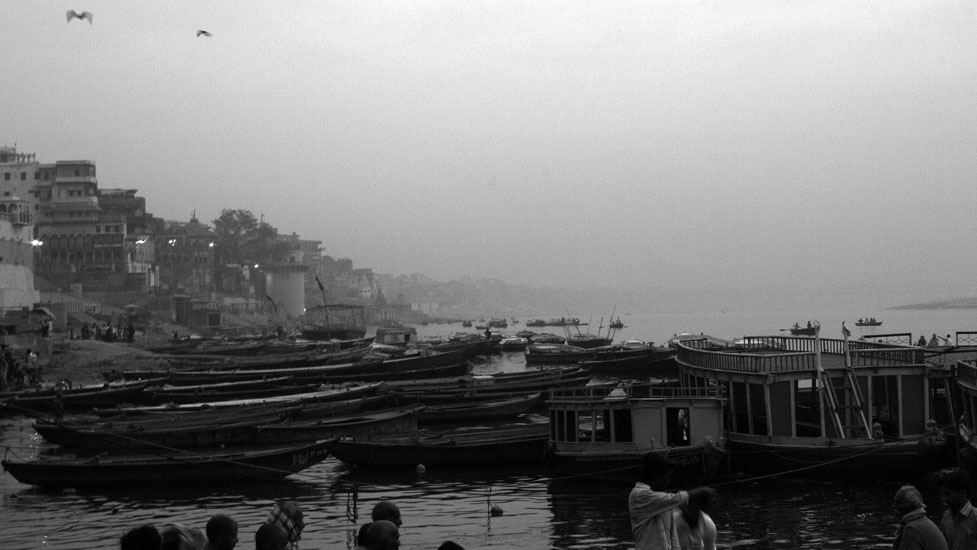 An early morning site of the boats lined up for the tourists on the ghats of Varanasi.