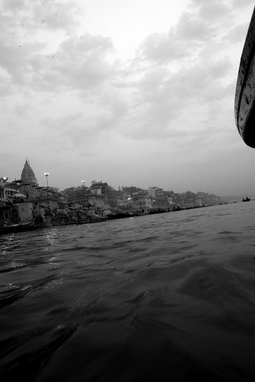 An early morning shot of the holy city of Varanasi from the boat.