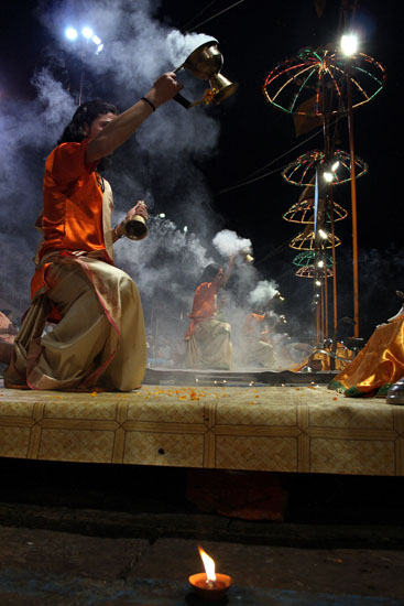 Evening aarti on the ghats of Varanasi. It is a must attend ceremony for anyone who visits this holy city.