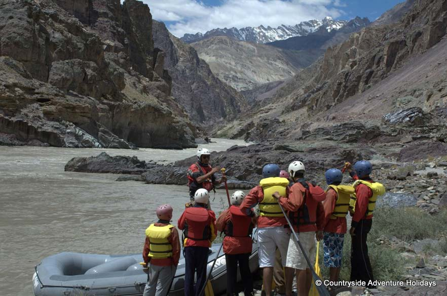 Fly into Leh. Starting point of rafting is Chilling on Zanskar river ie about 1.5 hrs from Leh, 30 kms. Rafting from Chilling to end point is 23 kms takes 2.5 hrs. It has 3 plus grade rapids - can be done by anyone. Rafting is depends on water level - instructions given there itself. U see instructions to the group.