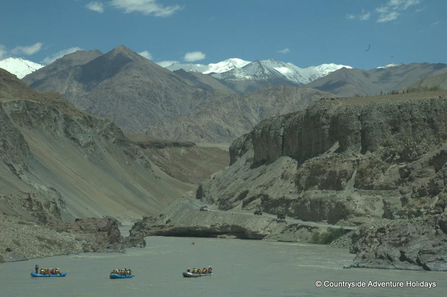 Now the group again got into 3 rafts and enjoyed as you see in the picture. Mountains on either side of the river are very beautiful, have different shapes and colors. If you like to do this trip mail info@countrysideindia.com. The company also organizes longer rafting trips on the Zanskar.